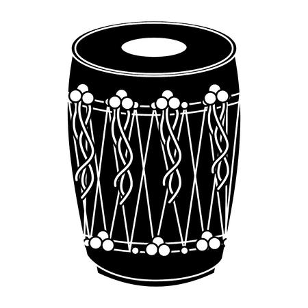 악기 펀 자비 드럼 드럼 인도 전통 벡터 일러스트 흑백 디자인