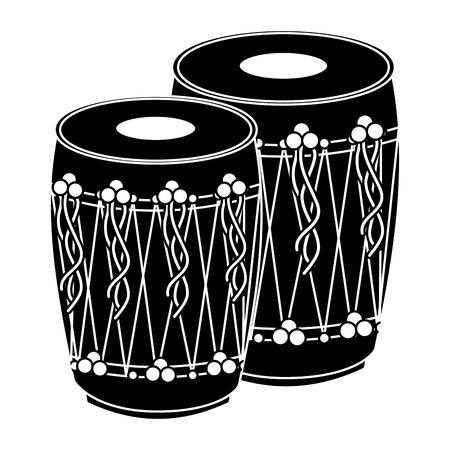 pair musical instrument punjabi drum dhol indian traditional vector illustration black and white design