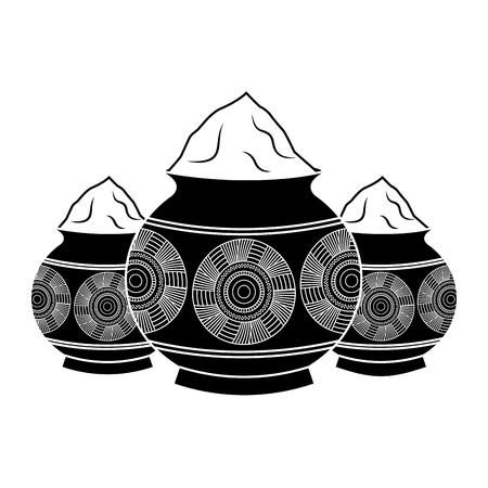 three powder color mud pot and mandala vector illustration black and white design