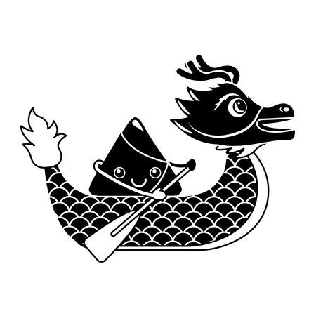 red dragon rice dumpling paddling festival chinese vector illustration black and white design Illustration