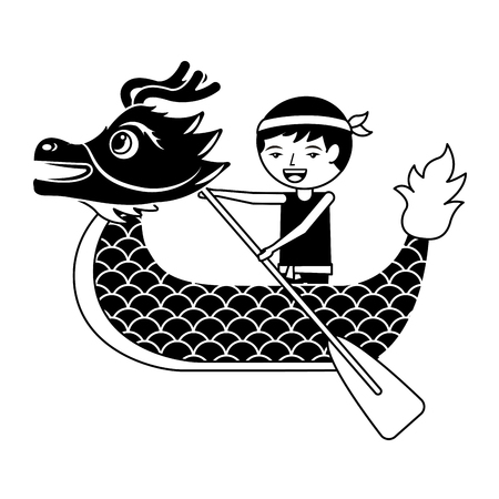 red dragon man rowing festival chinese chinese traditional vector illustration black and white design Stock Vector - 94678355