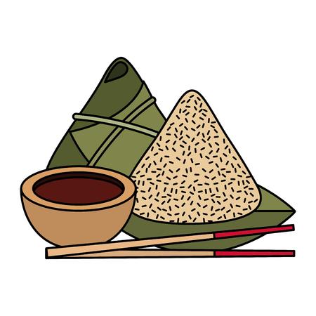 귀여운 만화 중국 음식 쌀 간장 세트 벡터 일러스트 레이 션 스틱 일러스트