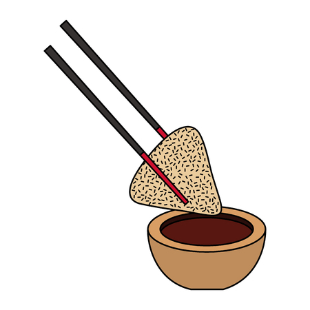 dumpling rice plate and soy sauce with sticks traditional vector illustration Ilustrace
