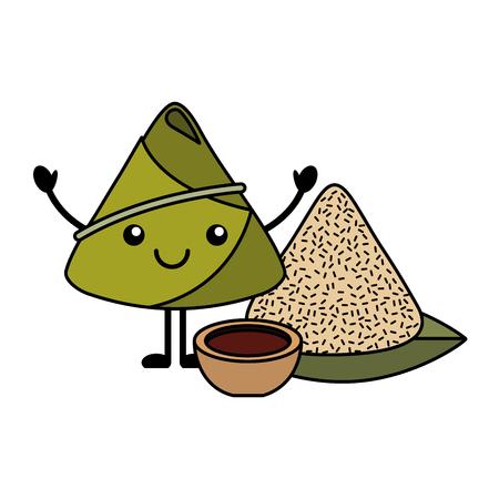 ソース漫画ベクトルイラスト付きハッピーライス餃子