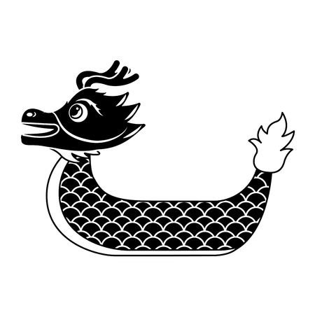 red dragon boat cartoon chinese vector illustration black and white design