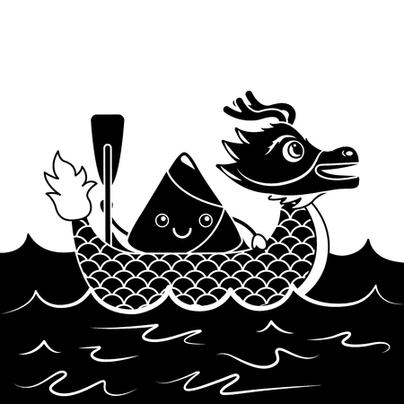 Red Dragon Rice Dumpling Paddling Sea Festival Vector Illustration Black And White Design