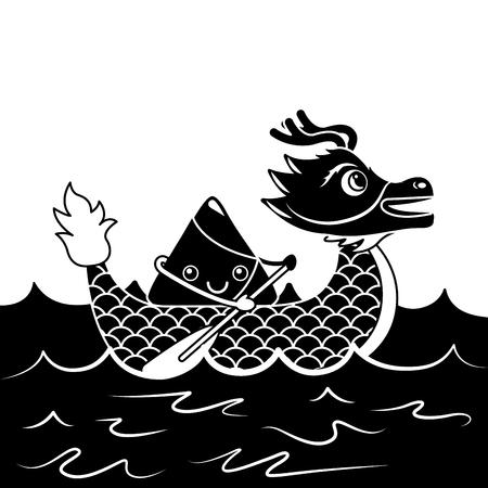 red dragon rice dumpling paddling sea festival vector illustration black and white design