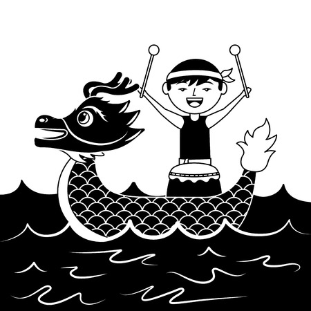 red dragon man with drum sea festival chinese vector illustration black and white design