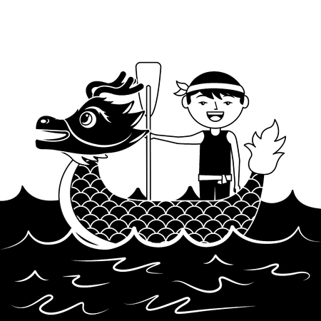red dragon man rowing festival chinese chinese traditional vector illustration black and white design