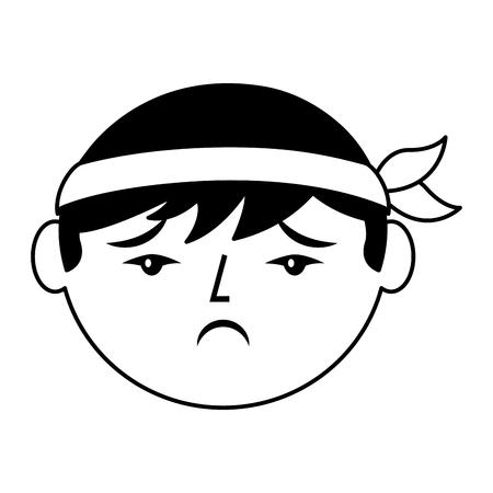 cartoon verdrietig gezicht Chinese man vector illustratie zwart en wit ontwerp Stock Illustratie