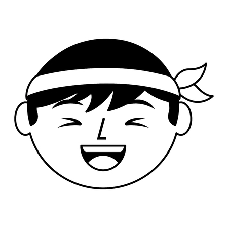 cartoon face laughing chinese man vector illustration black and white design