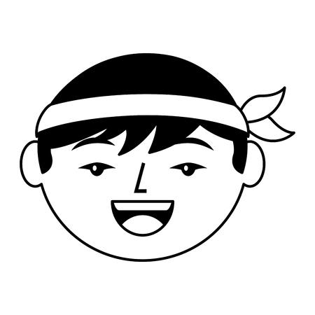 cartoon face cartoon happy chinese man vector illustration black and white design