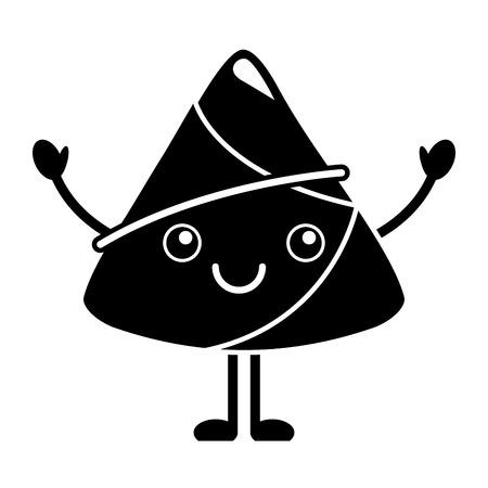 happy rice dumpling cartoon vector illustration black and white design Illustration