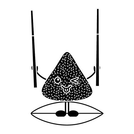 Kawaii happy rice dumpling holding wooden sticks vector illustration black and white design