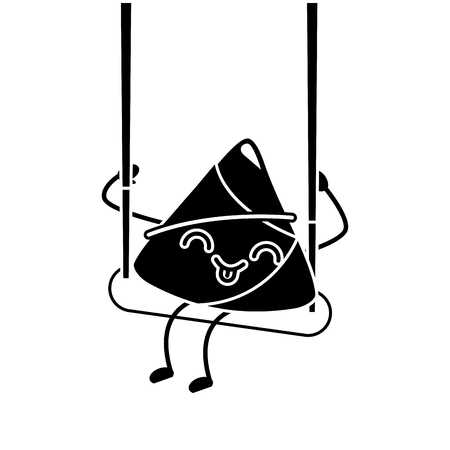Cartoon happy rice dumpling in swing