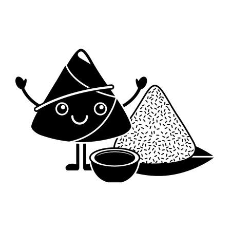 Cartoon happy rice dumpling with sauce