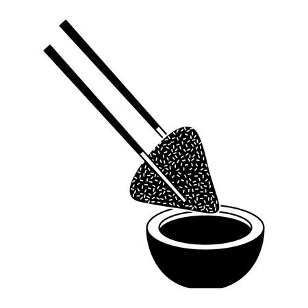 Bolrijst en sojasaus met eetstokjes. Stock Illustratie