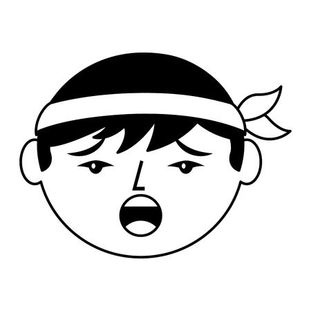 만화 얼굴 중국 남자 이야기 불행 한 벡터 일러스트 흑백 디자인 일러스트