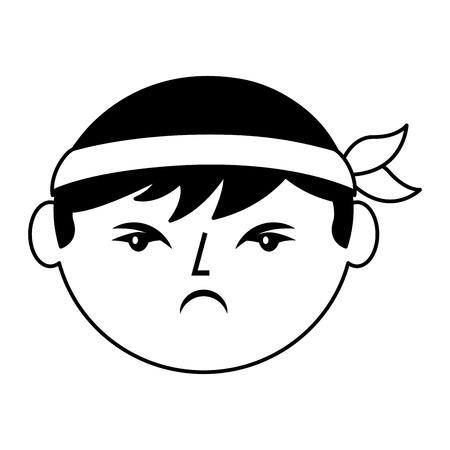 cartoon gezicht boos Chinese man vector illustratie zwart en wit ontwerp