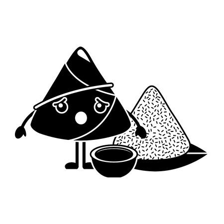 Cartoon surprised rice dumpling with sauce