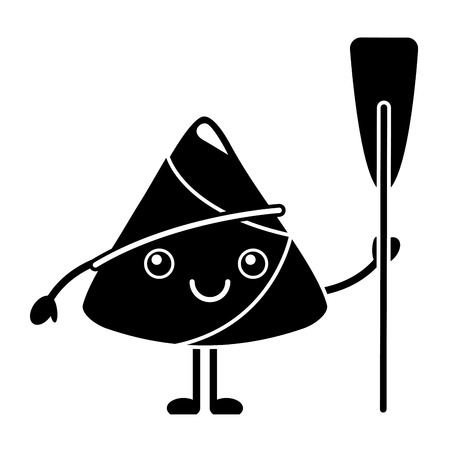 kawaii happy rice dumpling holding wooden oar vector illustration black and white design