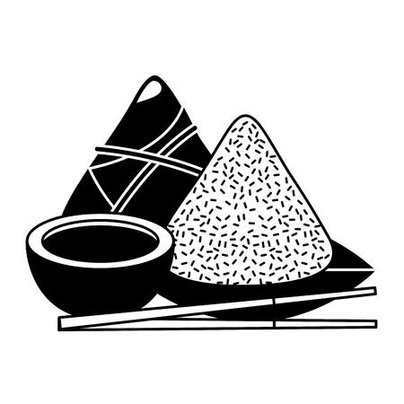 set of cute cartoon chinese food rice soy sauce sticks vector illustration black and white design
