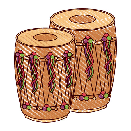 pair musical instrument punjabi drum dhol indian traditional vector illustration drawing design