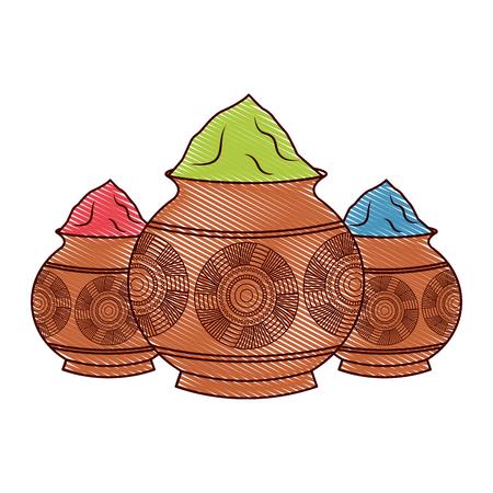 three powder color mud pot and mandala vector illustration drawing design