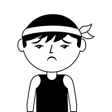 portrait cartoon sad man chinese with head band vector illustration black and white design