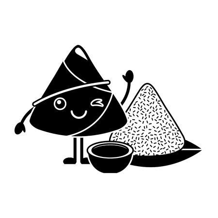 Kawaii rice dumpling with sauce cartoon vector illustration black and white design Illustration