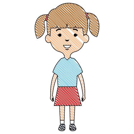 귀 엽 고 작은 소녀 벡터 일러스트 디자인