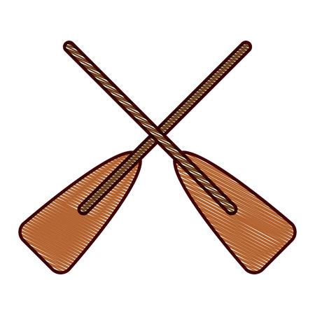두 나무 교차 보트 oars 스포츠 벡터 일러스트 그리기 디자인