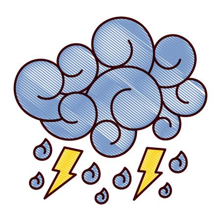 blue cloud lightning raindrops cartoon image vector illustration drawing design Illustration