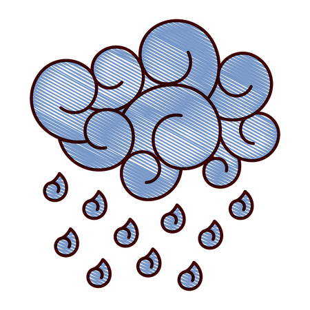 blue cloud rain drops atmosphere cartoon image vector illustration drawing design Illustration