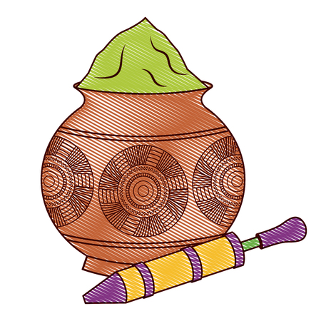Powder color mud pot and for celebration vector illustration drawing design 向量圖像