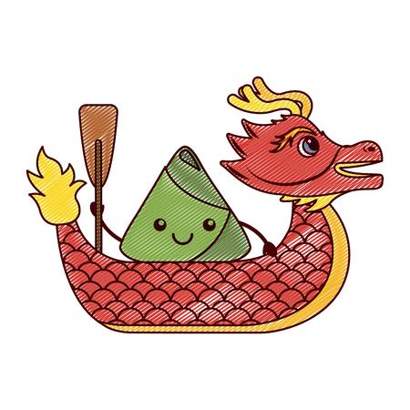 빨간 용 쌀 경단 경주 중국어 벡터 일러스트 그리기 디자인