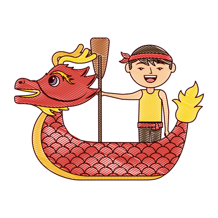 red dragon man rowing festival chinese traditional vector illustration drawing design