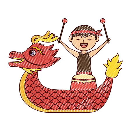 red dragon man with drum festival chinese vector illustration drawing design