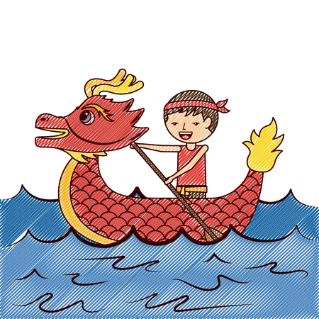 red dragon man rowing festival chinese chinese traditional vector illustration drawing design Illustration