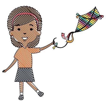 Cute and little girl flying a kite vector illustration design