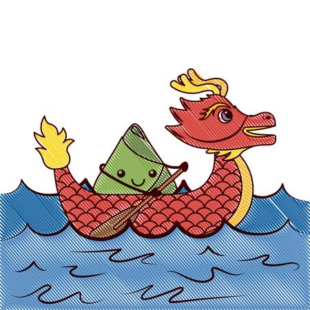 red dragon rice dumpling paddling sea festival vector illustration drawing design