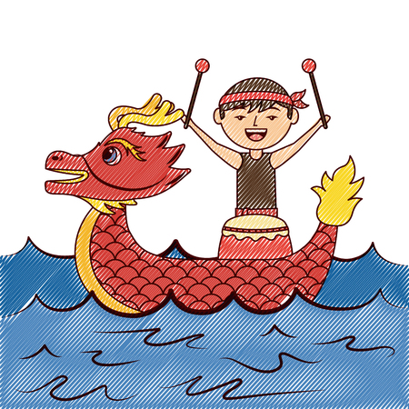 red dragon man with drum sea festival chinese vector illustration drawing design
