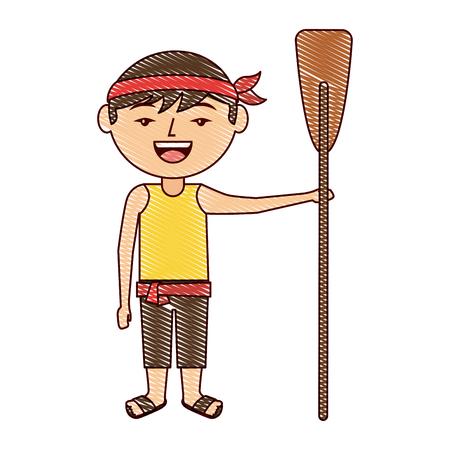 木製オールベクトルイラスト描画デザインを保持している面白い漫画の中国人男性  イラスト・ベクター素材