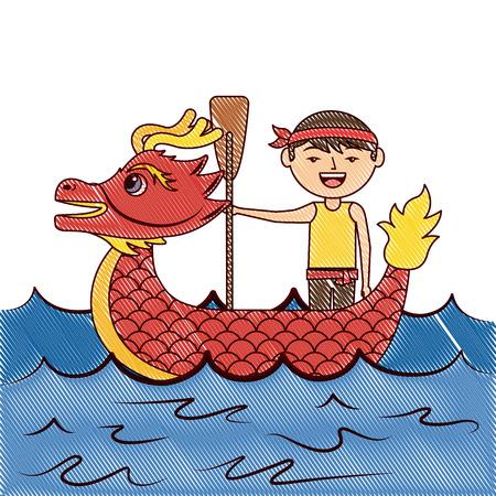 レッドドラゴンマン漕ぎ祭中国中国伝統ベクトルイラスト描画デザイン