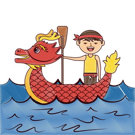 Red dragon man rowing festival chinese chinese traditional vector illustration drawing design