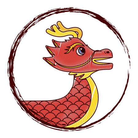 Drawing red chinese dragon symbol vector illustration drawing design
