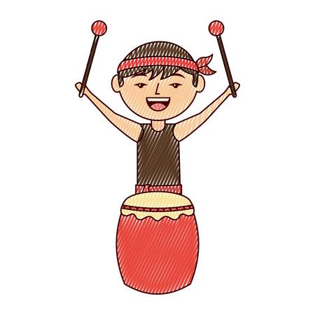 ドラムとスティックベクトルイラスト描画デザインで立っている面白い漫画の中国人男性  イラスト・ベクター素材