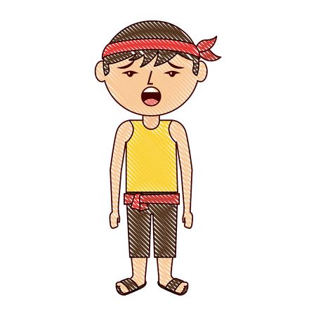 Funny cartoon chinesse man standing vector illustration drawing design
