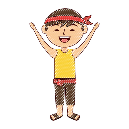 funny cartoon chinese man standing arms up vector illustration drawing design