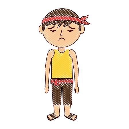 sad cartoon chinese man standing vector illustration drawing design